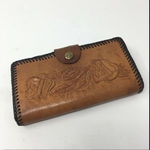 Vtg Womens Brown Hand Tooled Western Rose Leather